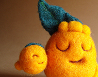"""""""Tommy Orange and his baby brother"""" needle felted toy"""