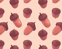 Acorns - Repeating Pattern