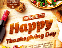 Thanksgiving Day Party Poster, PSD Template