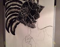 Mask - ink, linoleum cut