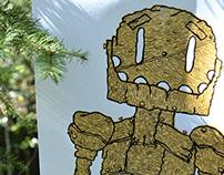 Wooden robot screen print