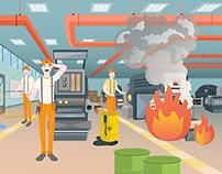 İş Güvenliği - Eğitici Oyun Grafikleri / Game Design