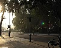 London on a misty morning