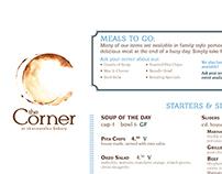 The Corner Cafe Menu