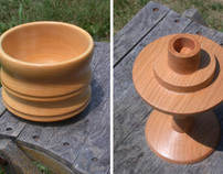 softwood bowl & cherry candlestick