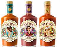 Cien Fuentes Hot Sauce Label Design