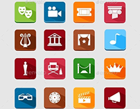 44 Art, Theater and Cinema Flat Icons