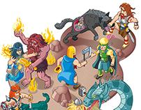 Ragnarök - nordic gods illustrated for GEOlino extra