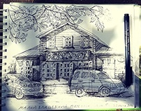 Urban sketching Moscow summer 2014