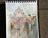 Urban sketching in Riga, Latvia