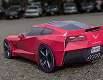 Corvette Stingray - Papercraft Sports Car