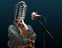 Illustration for stand-up show poster. Radio Me