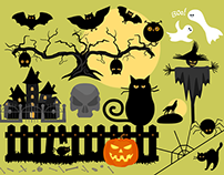 Halloween Vector Silhouettes and Creatures