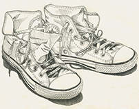 Shoes. Ink drawing