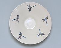 Porcelain Wall bowls: Dragon Flies