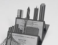 Laser Cut Dallas Skyline Invitation