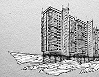 Monuments of the Soviet architecture.