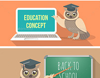 Wise Owl with Book, Laptop and School Board