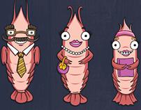 Character Illustration - Prawn Family