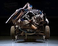 Crashed WRC Rally Car