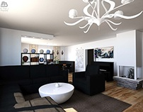 Living room with asian esthetic influences