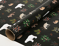Holiday Animals Wrapping Paper Black
