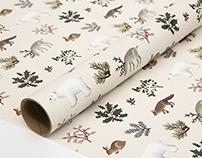 Holiday Animals Wrapping Paper Cream