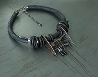 Metal Leather Necklace