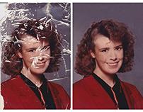 Restoration of a badly damaged photograph
