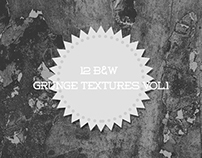 12 Black And White Grunge Textures VOL.1