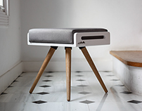 KENJI bench / Stool / Ottoman in White Lacquer & oak