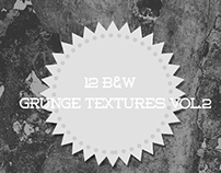 12 Black And White Grunge Textures VOL.2