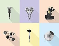 Automobile Parts - Illustration