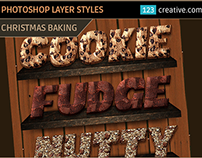 Photoshop layer styles Christmas baking, cookies, snack