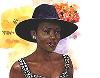 Lupita Njongo. Editorial fashion illustration.