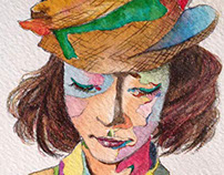 Girl with a hat.