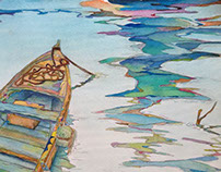 Drift boat on lake.