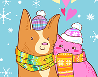 postcards Cat&Dog