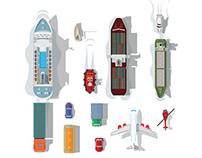 Flat Transportation Illustrations