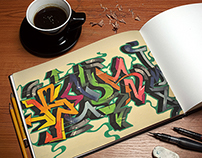 Graffiti Wildstyles (Street Art): Prismacolor on paper