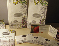 Small paper bag, brochure and flyer