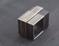 Silver and Blackwood Square Ring