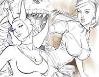 Alice & Maleficent Sketch Card Art