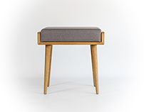 Bench / Stool / Seat / Ottoman in solid oak board