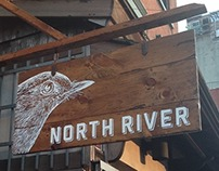 Hand painted signs for North River in Manhattan