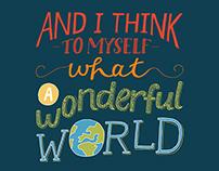 (What a) Wonderful World Hand Lettered Lyrics