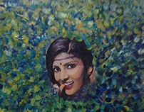 Indian attracted colors 90X90 cm acrylic on  canvas
