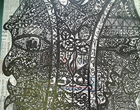 god's servant indian ink on canvas collage paper 100X70