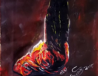 """ٍ Saans "" oil on canvas - 40X40 cm"
