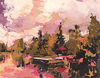 Gouache Landscape - Pond